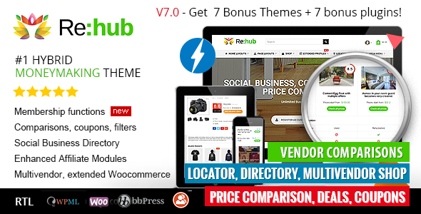 REHub v7.0.6 – Directory, Shop, Coupon, Affiliate Theme