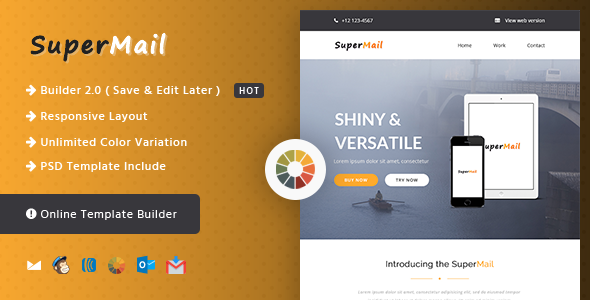 Responsive Email + Online Template Builder - SuperMail Agency