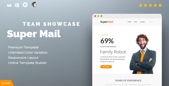 Responsive Email + Online Template Builder - SuperMail Team Showcase