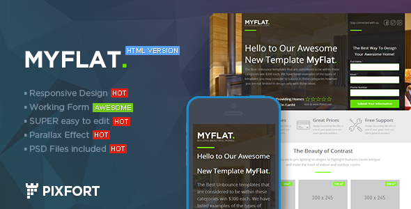 MYFLAT v1.1 - Real Estate HTML Landing Page