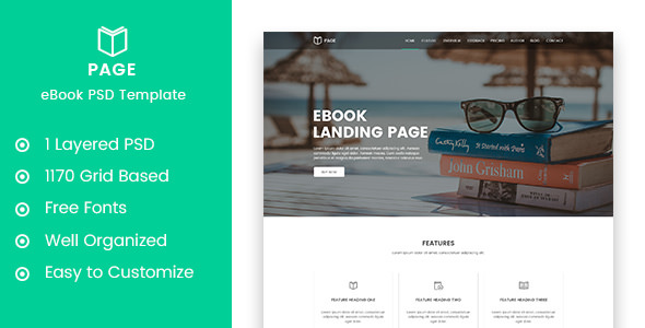 Page - eBook Selling Landing Page PSD Template