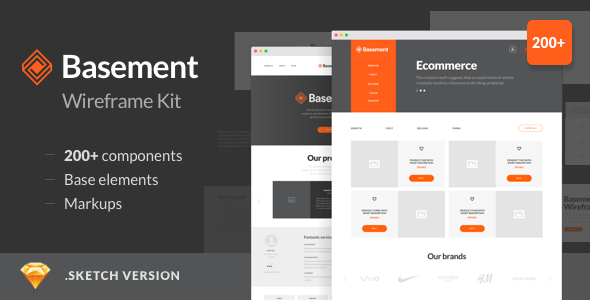 Basement Wireframe Kit - 200+ Components for Sketch