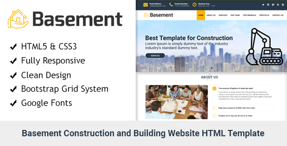 Basement - Construction and Building One Page HTML Template